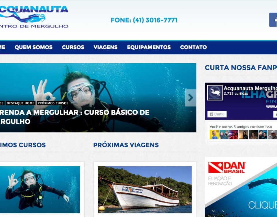 Web Site Aquanauta Mergulho